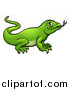 Vector Illustration of a Cartoon Green Komodo Dragon Lizard by AtStockIllustration
