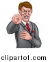 Vector Illustration of a Cartoon Grinning Evil White Business Man Pointing His Finger Outwards by AtStockIllustration