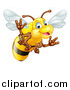Vector Illustration of a Cartoon Happy Bee Waving by AtStockIllustration