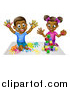 Vector Illustration of a Cartoon Happy Black Boy and Girl Kneeling and Finger Painting and Playing with Blocks by AtStockIllustration