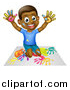 Vector Illustration of a Cartoon Happy Black Boy Kneeling and Painting Artwork with His Hands by AtStockIllustration