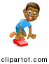 Vector Illustration of a Cartoon Happy Black Boy Playing with a Toy Car by AtStockIllustration