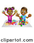 Vector Illustration of a Cartoon Happy Black Girl and Boy Kneeling and Finger Painting and Playing with Blocks by AtStockIllustration
