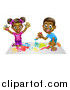 Vector Illustration of a Cartoon Happy Black Girl and Boy Kneeling and Painting Artwork by AtStockIllustration