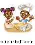 Vector Illustration of a Cartoon Happy Black Girl and Boy Making Frosting and Baking Star Cookies by AtStockIllustration