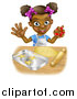 Vector Illustration of a Cartoon Happy Black Girl Holding a Cutter and Making Star Cookies by AtStockIllustration