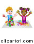 Vector Illustration of a Cartoon Happy Black Girl Kneeling and Painting Artwork and White Boy Playing with Toy Blocks by AtStockIllustration