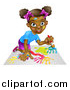 Vector Illustration of a Cartoon Happy Black Girl Kneeling and Painting Artwork by AtStockIllustration