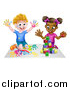 Vector Illustration of a Cartoon Happy Black Girl Playing with Toy Blocks and White Boy Finger Painting by AtStockIllustration