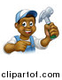 Vector Illustration of a Cartoon Happy Black Male Carpenter Holding a Hammer and Pointing by AtStockIllustration