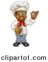 Vector Illustration of a Cartoon Happy Black Male Chef Gesturing Ok or Perfect and Giving a Thumb up by AtStockIllustration