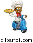 Vector Illustration of a Cartoon Happy Black Male Chef Holding a Pizza and Riding a Scooter by AtStockIllustration