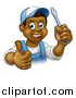 Vector Illustration of a Cartoon Happy Black Male Electrician Holding a Screwdriver and Giving a Thumb up by AtStockIllustration