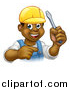 Vector Illustration of a Cartoon Happy Black Male Electrician Holding a Screwdriver and Pointing by AtStockIllustration