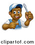 Vector Illustration of a Cartoon Happy Black Male Electrician Holding up a Screwdriver and Pointing by AtStockIllustration