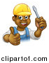 Vector Illustration of a Cartoon Happy Black Male Electrician Wearing a Hardhat, Giving a Thumb Up, and Holding a Screwdriver by AtStockIllustration