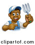 Vector Illustration of a Cartoon Happy Black Male Gardener in Blue, Holding a Garden Fork and Pointing by AtStockIllustration