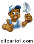 Vector Illustration of a Cartoon Happy Black Male Gardener in Blue, Holding a Garden Trowel and Giving a Thumb up by AtStockIllustration