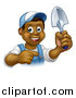Vector Illustration of a Cartoon Happy Black Male Gardener in Blue, Holding a Garden Trowel and Pointing by AtStockIllustration