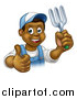 Vector Illustration of a Cartoon Happy Black Male Gardener in Blue, Holding up a Thumb a Garden Fork by AtStockIllustration