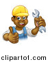 Vector Illustration of a Cartoon Happy Black Male Mechanic Holding up a Wrench and Giving a Thumb up by AtStockIllustration