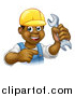 Vector Illustration of a Cartoon Happy Black Male Mechanic Holding up a Wrench and Pointing by AtStockIllustration