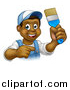 Vector Illustration of a Cartoon Happy Black Male Painter Holding up a Brush and Pointing by AtStockIllustration