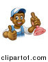 Vector Illustration of a Cartoon Happy Black Male Plumber Holding a Plunger and Giving a Thumb up by AtStockIllustration