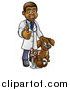 Vector Illustration of a Cartoon Happy Black Male Veterinarian Giving a Thumb up and Standing with a Dog and Cat by AtStockIllustration