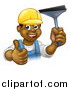 Vector Illustration of a Cartoon Happy Black Male Window Cleaner in a Hardhat, Giving a Thumb up and Holding a Squeegee by AtStockIllustration