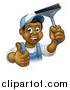 Vector Illustration of a Cartoon Happy Black Male Window Cleaner in Blue, Giving a Thumb up and Holding a Squeegee by AtStockIllustration