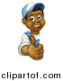 Vector Illustration of a Cartoon Happy Black Male Worker Giving a Thumb up Around a Sign by AtStockIllustration