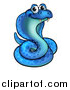 Vector Illustration of a Cartoon Happy Blue Coiled Cobra Snake by AtStockIllustration