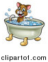 Vector Illustration of a Cartoon Happy Brown Cat Sitting in a Bath Tub by AtStockIllustration