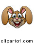 Vector Illustration of a Cartoon Happy Brown Easter Bunny Rabbit Face by AtStockIllustration