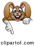 Vector Illustration of a Cartoon Happy Brown Easter Bunny Rabbit Pointing down over a Sign by AtStockIllustration