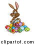 Vector Illustration of a Cartoon Happy Brown Easter Bunny Rabbit with a Basket and Eggs by AtStockIllustration
