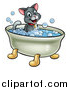 Vector Illustration of a Cartoon Happy Cat Sitting in a Bath Tub by AtStockIllustration