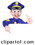 Vector Illustration of a Cartoon Happy Caucasian Male Police Officer Giving a Thumb up and Pointing down over a Sign by AtStockIllustration