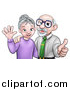 Vector Illustration of a Cartoon Happy Caucasian Senior Couple Waving and Giving a Thumb up by AtStockIllustration