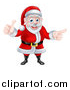 Vector Illustration of a Cartoon Happy Christmas Santa Claus Giving a Thumb up and Pointing to the Right 2 by AtStockIllustration