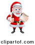 Vector Illustration of a Cartoon Happy Christmas Santa Claus Holding a Parchment Scroll and Giving a Thumb up by AtStockIllustration