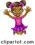 Vector Illustration of a Cartoon Happy Excited Black Girl Jumping by AtStockIllustration