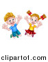 Vector Illustration of a Cartoon Happy Excited Blond Caucasian Boy and Girl Jumping by AtStockIllustration