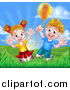 Vector Illustration of a Cartoon Happy Excited Blond Caucasian Boy and Girl Jumping Outdoors with a Balloon by AtStockIllustration