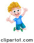 Vector Illustration of a Cartoon Happy Excited Blond Caucasian Boy Jumping and Giving Two Thumbs up by AtStockIllustration