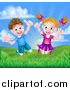 Vector Illustration of a Cartoon Happy Excited Caucasian Boy and Girl Jumping Outdoors by AtStockIllustration