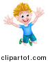 Vector Illustration of a Cartoon Happy Excited White Boy Jumping by AtStockIllustration