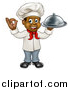 Vector Illustration of a Cartoon Happy Full Length Black Male Chef Holding a Cloche Platter and Gesturing Perfect by AtStockIllustration