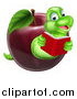 Vector Illustration of a Cartoon Happy Green Book Worm Reading and Emerging from a Red Apple by AtStockIllustration